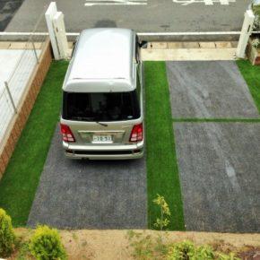駐車場にも人工芝の施工事例アイキャッチ画像