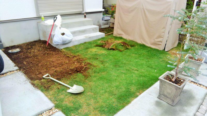 東京都 A様邸の庭施工中の写真2